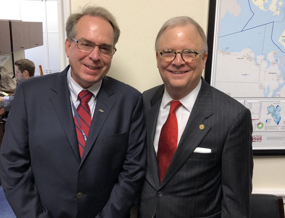 CAPA President Capt. Larry Rooney visits with NTSB Chairman Robert Sumwalt